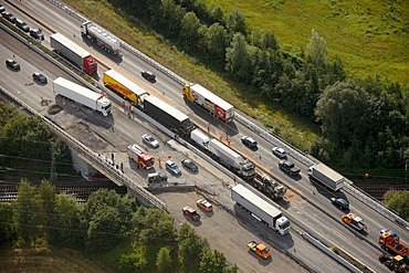 Aerial view, traffic backed up due to an accident with a truck resulting in closure of the highway, A2 motorway between Hamm-Rhynern and Hamm, Ruhr Area, North Rhine-Westphalia, Germany, Europe