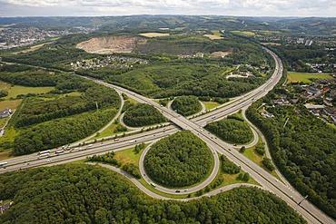 Aerial view, A45 Sauerlandlinie motorway and A46 motorway, Hagen motorway intersection, Hagen, Ruhr area, North Rhine-Westphalia, Germany, Europe