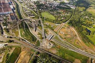 Aerial view, Stahlhausen junction, A40 motorway, B1 highway, Ruhrschnellweg, Bochum, Ruhr Area, North Rhine-Westphalia, Germany, Europe