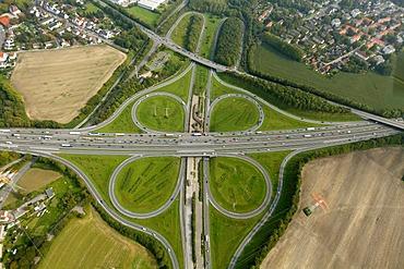 Aerial view, junction of the A45 Sauerlandlinie motorway and the A42 Emscherschnellweg motorway, BAB Kreuz Castrop-Rauxel Ost, Dortmund, Ruhr Area, North Rhine-Westphalia, Germany, Europe