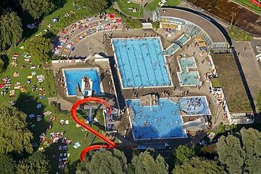 Aerial view, public swimming pool, Herdecke, North Rhine-Westphalia, Germany, Europe