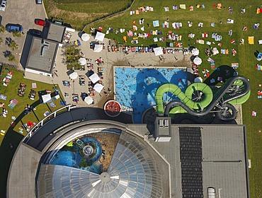 Aerial view, outdoor swimming pool, Oberhausen, North Rhine-Westphalia, Germany, Europe