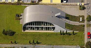 Aerial view, Lufthansa travel agency, Erlenbruch business park, Holten district, Oberhausen, North Rhine-Westphalia, Germany, Europe