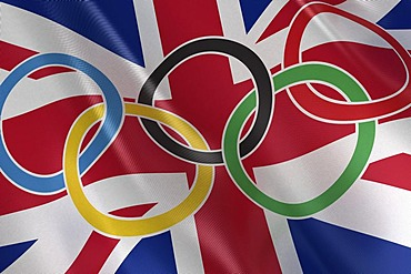 Flag of the United Kingdom with Olympic rings