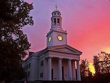 First Parish in front of a spectacular sunset, Concord, Massachusetts, USA