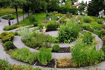 Herbal garden, Bad Heilbrunn, Upper Bavaria, Bavaria, Germany, Europe