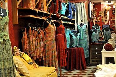 Lace clothing for sale, souvenirs, Burano, Venice, Veneto region, Italy, Europe
