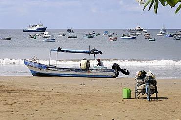 Boats, beach, San Juan del Sur, Nicaragua, Central America