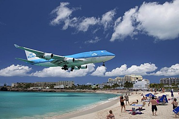 KLM Boeing 747 landing over the beach of Saint Maarten, the island of Saint Maarten, Netherlands and France, Caribbean Sea