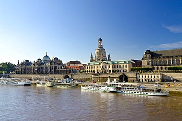 Bruehl's Terrace and Frauenkirche church, seen across the river Elbe, Dresden, Saxony, Germany, Europe
