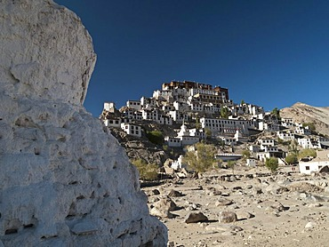 Thikse Gompa, huge monastery situated on a hill south of Leh, overlooking the Indus valley, Jammu and Kashmir, India, Asia