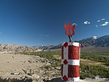 View down south over the Indus valley from the rooftop of Thikse Gompa, Thiksey, Jammu and Kashmir, India, Asia