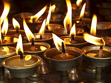 Deepaks, little candles made from ghee, widely used for offerings, Kathmandu, Nepal, South Asia