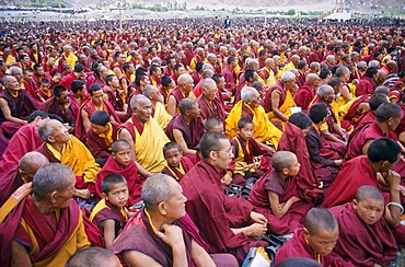 Thousands of Buddhist monks listening to the teachings of the Dalai Lama, Leh, Jammu and Kashmir, India, Asia