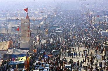 Millions gather at the festival ground of the Maha Khumba Mela at the confluence of the Rivers Ganges, Yamuna and Saraswati in Allahabad, Uttar Pradesh, India, Asia