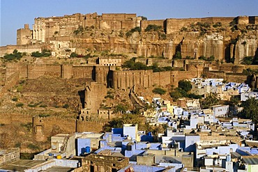 """Blue City"" of Jodhpur with Meherangarh Fort, Jodhpur, Rajasthan, India, Asia"