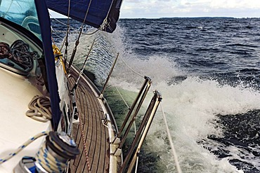 Sailing yacht with a strong inclination, Gedser, Falster, Denmark, Europe