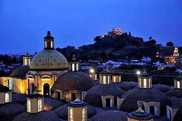 Roof of the Convento de San Gabriel monastery at night in front of the church of Iglesia Nuestra Senora de los Remedios on the ruins of the pre-Hispanic Pyramid of Cholula, San Pedro Cholula, Puebla, Mexico, Latin America, North America