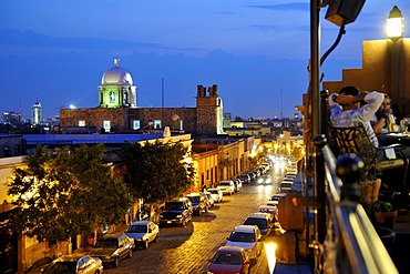 Santiago de Queretaro at night with the roof terrace of a restaurant, UNESCO World Heritage Site, Querataro, Mexico, Latin America, North America