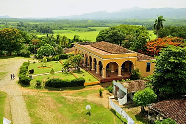 View from the seven-storeyed Iznaga Tower, a 50 meters high slave tower, Valle de los Ingenios Valley, Valley of the Sugar Mills, near Trinidad, Cuba, Caribbean