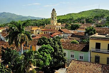 Overlooking the historic city centre of Trinidad with the Church of Ermita Nuestra Senora de la Candelaria de la Popa, Trinidad, Cuba, Caribbean