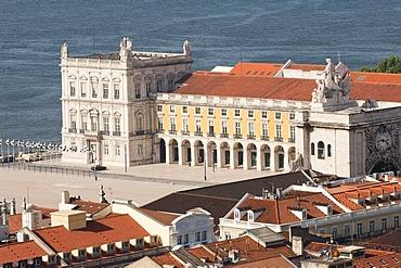 Praca do comercio, commerce square, near Tajus river, Baixa district, Lisbon, Portugal, Europe