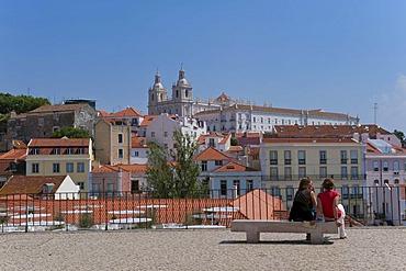 Sao Vicente da Fora Church viewed from the Santa Luzia viewpoint, Alfama district, Lisbon, Portugal, Europe