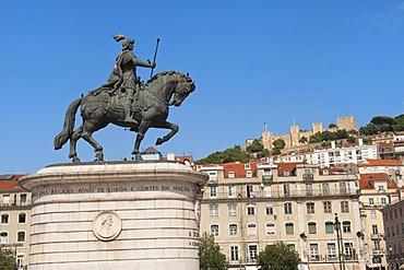Equestrian statue of King Joao I at Praca da Figueira and Castelo de Sao Jorge castle, Baixa district, Lisbon, Portugal, Europe