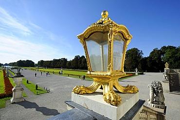 Pompous lantern, park of Nymphenburg Palace, Munich, Bavaria, Germany, Europe