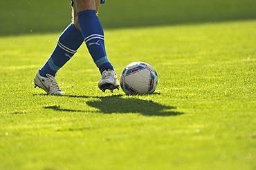 Footballer's legs and a football, Sinsheim-Hoffenheim WIRSOL, Rhein-Neckar-Arena, Baden-Wuerttemberg, Germany, Europe