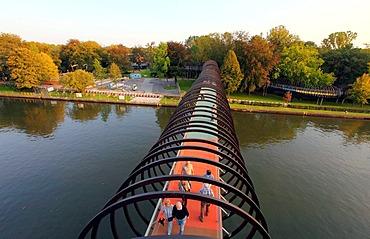 Slinky Springs to Fame pedestrian bridge, architect Tobias Rehberger, the Rhine-Herne Canal near Oberhausen, North Rhine-Westphalia, Germany, Europe, PublicGround