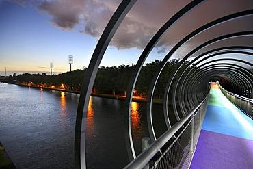 Slinky Springs to Fame pedestrian bridge, architect Tobias Rehberger, crossing the Rhine-Herne Canal near Oberhausen, North Rhine-Westphalia, Germany, Europe, PublicGround