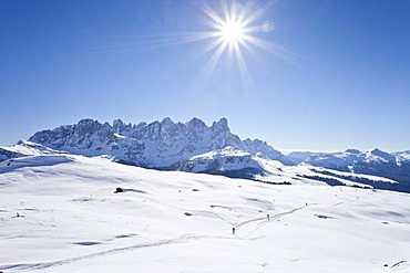 Snow-covered landscape, view during the ascent of Cima Bocche Mountain above Passo Valles, Dolomites, looking towards the Pala Group beside the Passo Rolle, Trentino, Italy, Europe