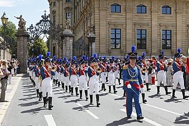Bad Kissingen Youth Band, parade during the Kiliani Festival, Rennweger Gate, Wuerzburg, Lower Franconia, Franconia, Bavaria, Germany, Europe, PublicGround