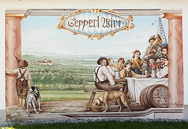 Wall painting on a country inn, Zum Sepperl, Meiling, community of Seefeld, Fuenfseenland, Five Lakes district, Upper Bavaria, Bavaria, Germany, Europe, PublicGround