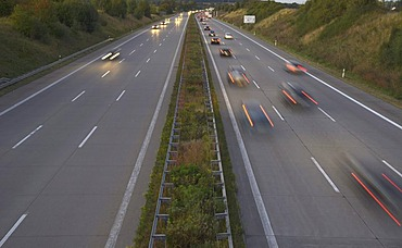 Traffic on the Autobahn 4 motorway near Chemnitz, Saxony, Germany, Europe