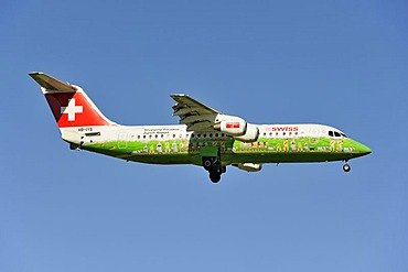Swiss BAE Systems Avro 146-RJ100 with special livery, Shopping Paradise Zurich Airport, during the landing approach to Zurich Airport, Zurich, Switzerland, Europe