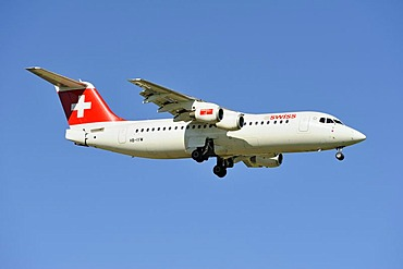Swiss BAE Systems Avro 146-RJ100 during the landing approach to Zurich Airport, Zurich, Switzerland, Europe