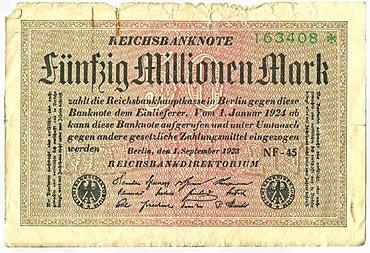 Old banknote, front, Reichsbanknote, 50, 000, 000 mark, Reichsbankdirektorium, circa 1923