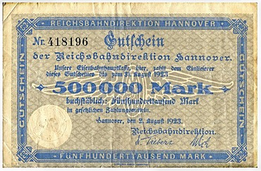 Old voucher, front, Reichsbankdirektion Hannover, 500, 000 mark, Reichsbankdirektorium, circa 1923