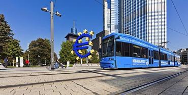 European Central Bank, ECB, euro sign, tram, Frankfurt am Main, Hesse, Germany, Europe, PublicGround