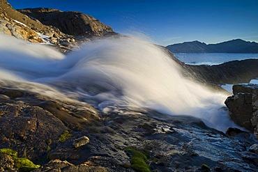 Waterfall, Ammassalik peninsula, beginning of the Sermilik Fjord, East Greenland, Greenland