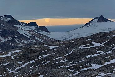 Moonrise over Mittivakkat Glacier, Ammassalik peninsula, East Greenland, Greenland