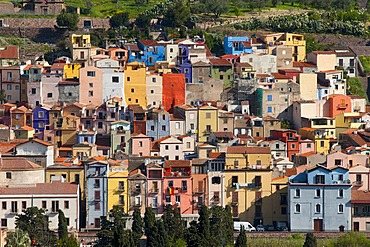 Colourful houses, Bosa, Sardinia, Italy, Europe