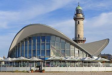 """Teapot"" building and lighthouse, Warnemuende sea resort, Mecklenburg-Western Pomerania, Germany, Europe"