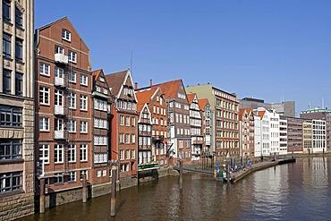 Old Hamburg burgher or merchants houses, Deichstrasse Street, Hamburg, Germany, Europe