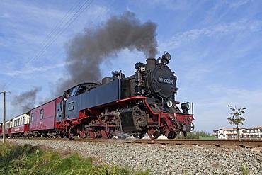 """Steam train """"Molli"""", Kuehlungsborn West, Baltic Sea, Mecklenburg-Western Pomerania, Germany, Europe"""