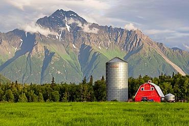 Farm house in the evening hours, near Palmer, Alaska, USA, PublicGround