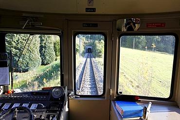 Inside the narrow gauge railway Les Brenets, Le Locle, Neuchatel, Switzerland, Europe