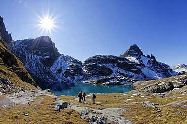View over Schottensee lake on the Five Lakes Hiking Route, Pizol, Canton of St. Gallen, Switzerland, Europe, PublicGround